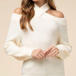 Crisscross Neck Cream Sweater